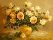 DIY Frameless Pictures Paint By Numbers Digital Oil Painting On Canvas handwork gift set of flower The vase yellow roses