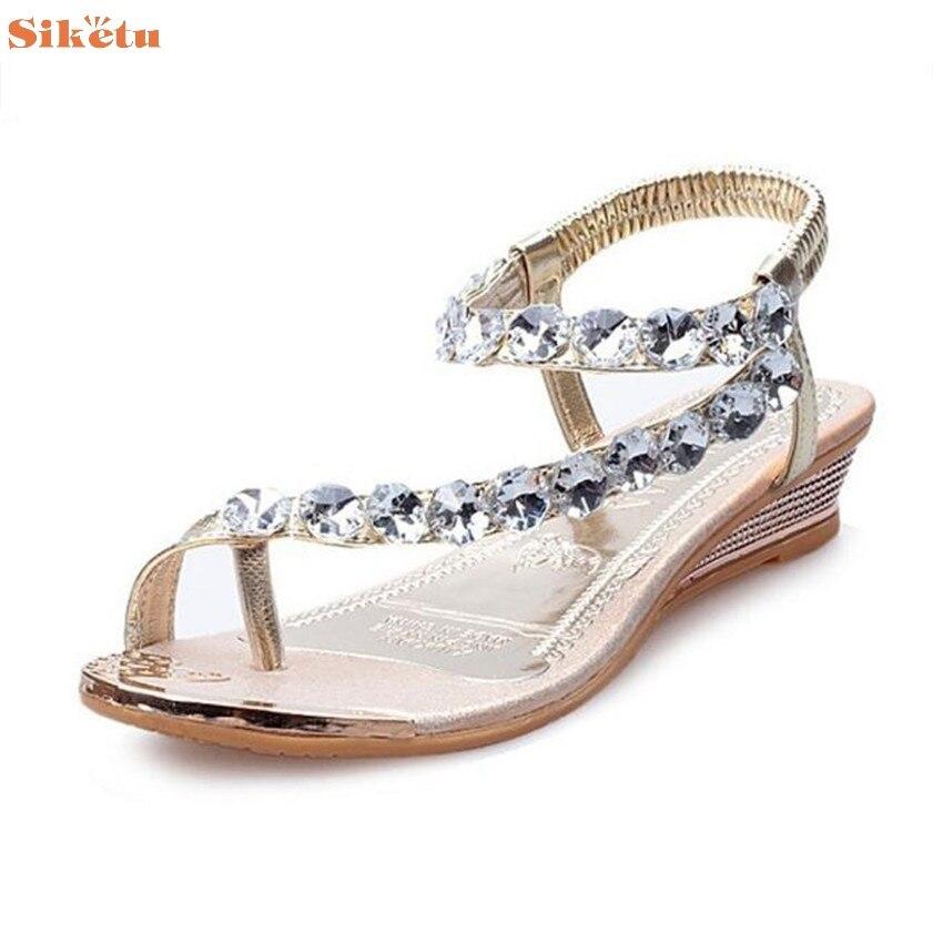High quality Woman Summer Sandals Rhinestone Flats Platform Wedges Shoes Flip Flops<br><br>Aliexpress