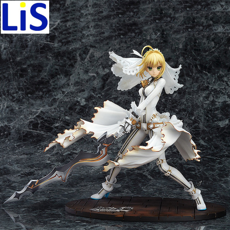 Lis New Japanses Anime Fate Stay Night Wedding dress  PVC Action Figure Model With Base Collection Boy Toy Birthday Gifts 28CM <br>