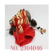 17 years new 2 meters long red goose feathers dip gold head made from cloth side DIY dress headdress down decoration(China)