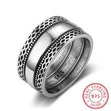 Solid 925 Sterling Silver Rings Double Laces Retro Wave Vintage Rings For Women Wedding Silver Jewelry (RI102785)(China)