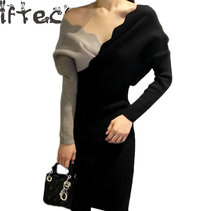 Korean Women Knitted Dress Autumn Winter Stitching Hit Color Sexy Cross V-neck Long Batwing Sleeve Wrap Elegant Sweater DressÎäåæäà è àêñåññóàðû<br><br>