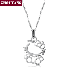 Top Quality Hollowing craft Lovely KT Cat Necklace Silver Color Fashion Jewellery Nickel Free Pendant ZYN293 ZYN300