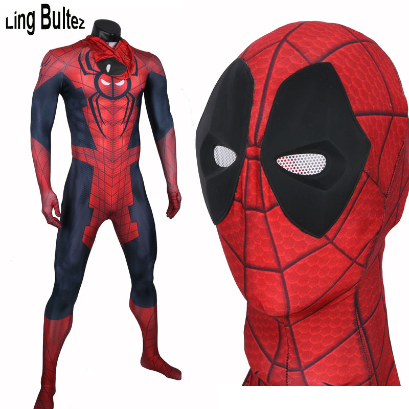 Ling Bultez High Quality Spidey Pool Costume Superhero Deadpool Costume Adult Men Halloween Party Suit