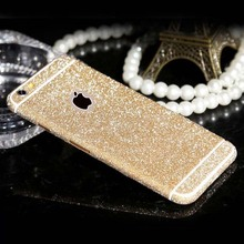 Hot ! Fashion Candy Color Shiny Full Body Glitter Bling Sticker for apple iphone 5 5S 6 6S Phone Sticker Matte Screen Protector