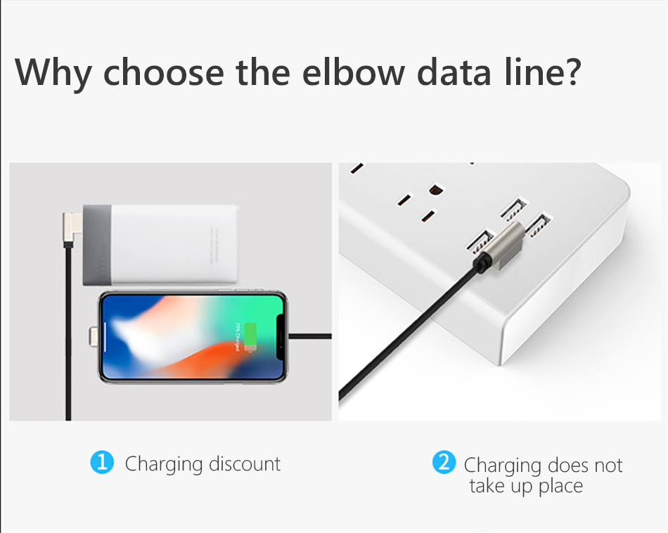 Zinc Alloy Elbow Charger Cable For iphone X XS XR 8 7 6 6s 5 Plus Lighting Charging Phone Data Cables 8 Pin For Apple 1 (10)