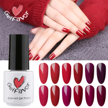 Gelfavor Series 7ml Red Wine Color Nail Gel Polish UV LED Gel Polish Soak off Pure Colors Nail Gel