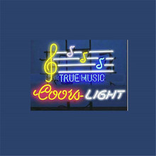 "17*14"" COORS LIGHT TRUE MUSIC NEON SIGN Signboard REAL GLASS BEER BAR PUB Billiards display Restaurant christmas Light Signs(China)"