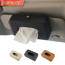 Buy TopAuto Car Tissue Box Cover Paper Rack Rectangle Sun Visor Leather PU Paper Napkin Holder Car Styling Interior Accessories for $13.48 in AliExpress store