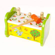 1 Set Classic Baby Game Playing Hamster Children's Educational Colorful Wooden Toys Knock Animal Improve Kid Response Capability
