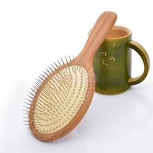 Bamboo Activating Blood Flow Small Round Steel Teeth Massage Hair Brush Comb(China)