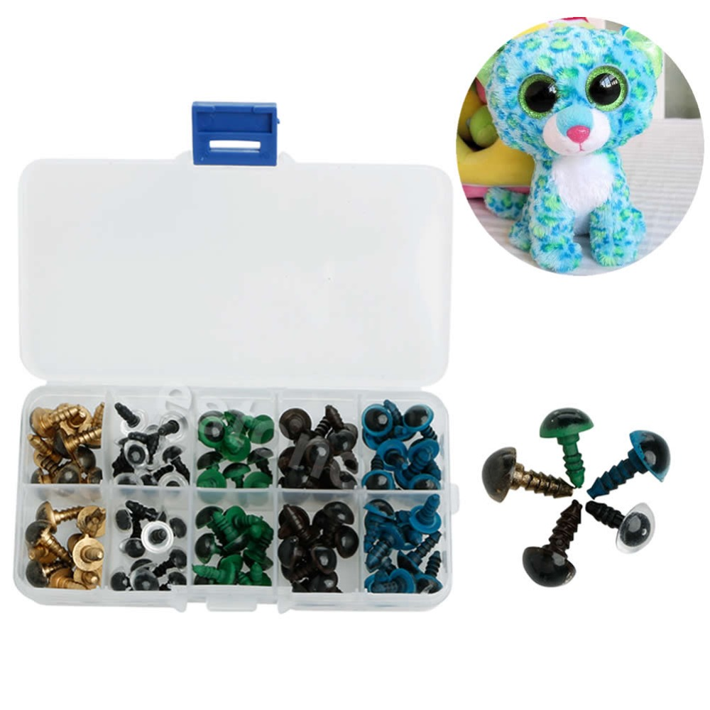 New 100Pcs 10mm Plastic Safety Eyes For Bear Doll Animal Puppet Crafts 5 Colors<br><br>Aliexpress