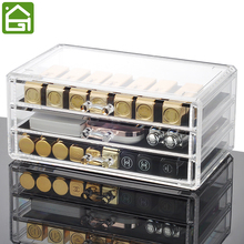 Acrylic Makeup and Accessories Storage Drawers 3 Drawers Cosmetic Storage Display Box Large Office Organizers(China)