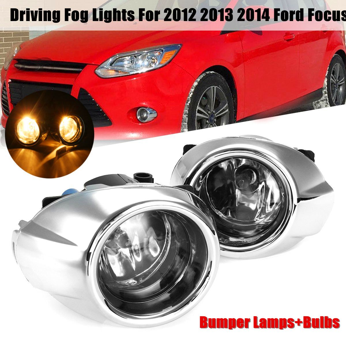 1 Pair Car Replacement Clear Lens Fog Lights Lamps Bulbs For Ford /Focus 2012 2013 2014<br>