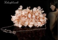 2017 sweet gentlewomen chiffon petal package rhinestone evening bag day clutch bag bride bridesmaid chain female bag