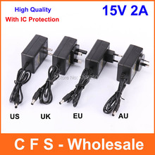 With IC Chip High Quality AC DC 15V 2A Power Adapter Supply Charger 15V 1.2A adaptor UK UE US AU Plug 1PCS