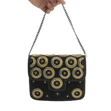 Mystic River New Indian Evening Bag Handmade Beaded Full Stones Handbags Designer Clutch Bags Top Quality Black Party Purse