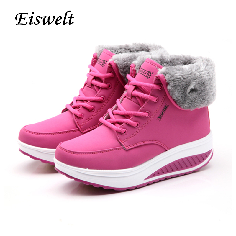 EISWELT Winter Female Plus Velvet Swing Shoes Snow Platform Boots Women Thermal Cotton-padded Shoes Flat Ankle Boots#EHL18<br>