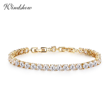 New Yellow Gold Color Link Round Cut AAA CZ Stones Tennis Bracelets For Women Girls Jewelry pulseras mujer accessoires