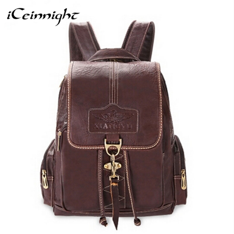 iCeinnight backpacks for teenage girls vintage pu leather black casual womens backpack school bags for teenagers travel bag<br><br>Aliexpress