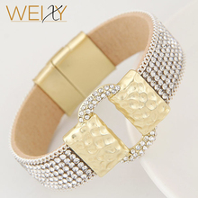 Hot Fashion Sparkling Full Rhinestone Belt Buckle Wide Magnetic Leather bracelets & bangles Women Statement Pulsera Mujer Bijoux(China)