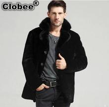 Office Style Men Faux Mink Fur Winter Coat Casual Business Men Brief Office Black Big Size Turn Down Collar Jacket Coat YY1026