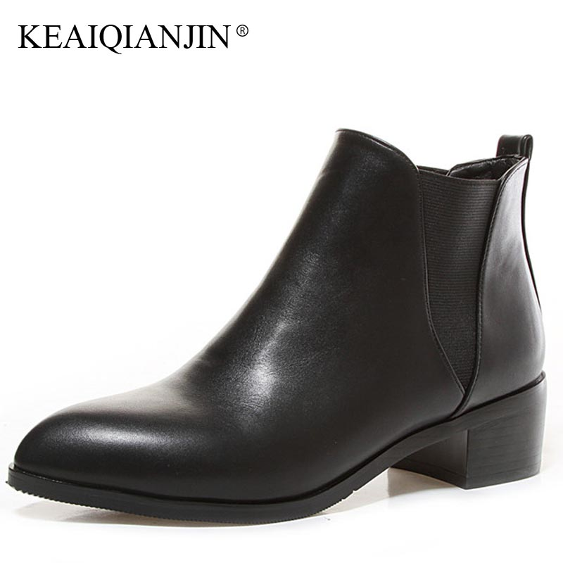 KEAIQIANJIN Woman Golden Martin Boots Black Plus Size 32 - 44 Chelsea Boots Fashion Plush Pointed Toe Cheap Winter Shoes 2018<br>