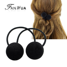 FANHUA New Arrival Fashion Plaits Hair Accessories Black Elastic Rope Headbands Red Blue Ball Headwear Accessories Women