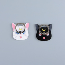 Koteta Anime Sailor Moon Crystal Figure 360 Degree Metal Finger Ring for iphone ipad Luna Black Cat Mobile Phone Support Toys(China)