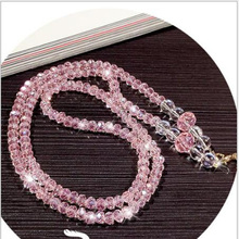 Colorful Fashion Crystal Bling Pearl Mobile Neck Key Lanyard ID Pass Card Badge Holders Creation Phone Chain Accessories(China)
