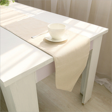 plain beige color table runner runners decoration polyester linen burlap tablecloth wedding party decor