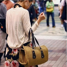 Korean style The new summer ladies pillow straw bag woven straw  rattan beach bag