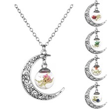 Vintage Lucky Jewelry Silver Plated with Crescent Shaped  Natural Dried Flower Glass Wish Bottle Long Pendant Necklace for Women