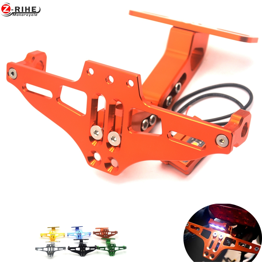 Motorbike Adjustable Angle Aluminum License Number Plate Holder Bracket Universal For KTM RC8R RC 8R rc 990 SMT 990SMT 950 SMR/S<br>