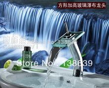 Free shipping hot sale discount waterfall bathroom faucet,single handle single hole hightening basin sink mixer tap faucet,6008(China)