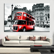 Large size Printing Oil Painting red london bus Wall painting Decor Wall Art Picture For Living Room painting No Frame(China)