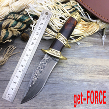 get-FORCE Damascus Steel Tactical Fixed Blade Knife, Collection Damascus Hunting Knife,EDC Straight Knives,Camping Knives Tools(China)