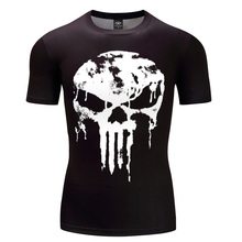 Punisher 3D T-shirts Men Compression Shirts Short Sleeve Cosplay Costume crossfit fitness Clothing Tops Punk Skull Skeleton(China)