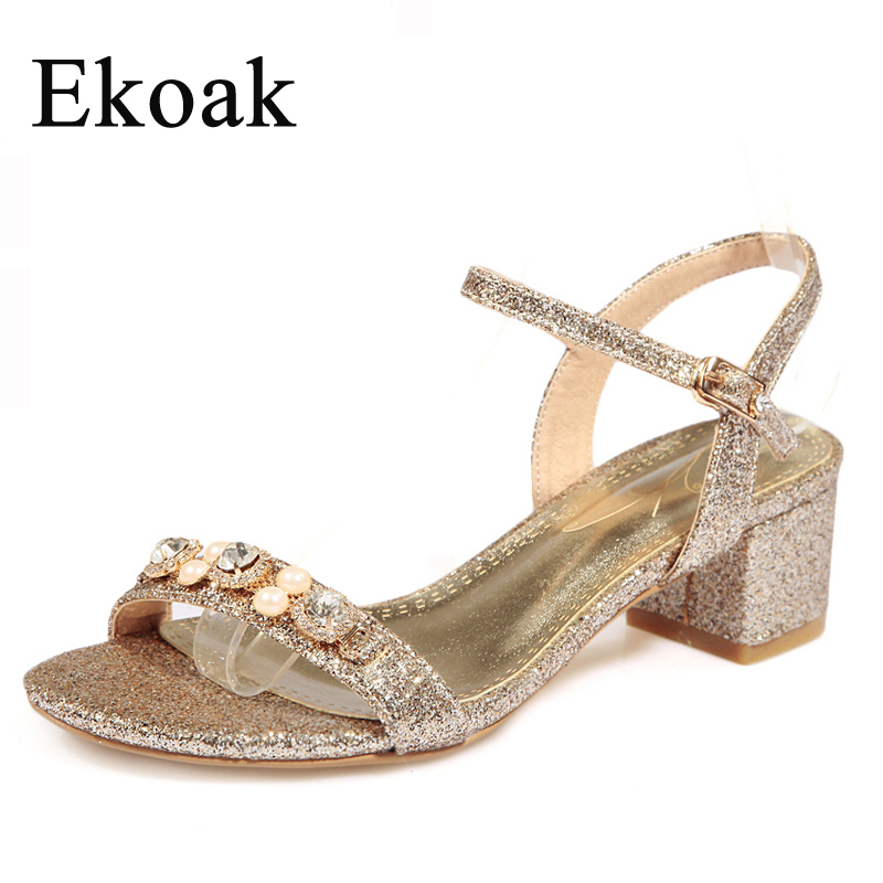 Ekoak New 2017 Fashion Summer Party Dress Shoes Woman Sandals Ladies Sexy Open Toe Rhinestone Gold Silver Bling High Heels Shoes<br><br>Aliexpress