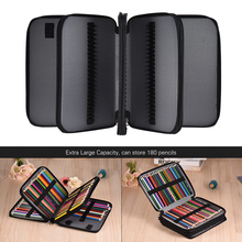 180 Slots School Color Pencil Case School Bags Pencilcase Extra-Large Capacity Bag PU Leather Zippered Por with Handle Strap