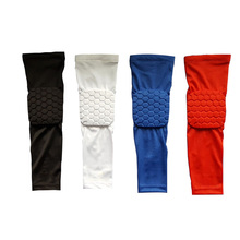 1 pair Honeycomb sports High Elastic elbow pads Shooting Long volleyball Arm Sleeves Support Basketball elbow support Armguards