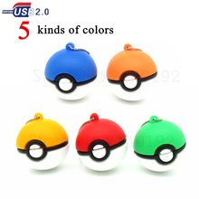 5 colors Pocket monster Pendrive pokeball USB Flash Drive cartoon Pokemon usb pen drive 32GB 16GB 8GB 4GB memory stick usb key