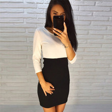 Ladies 2 Color Patchwork Sexy Sheath Dress 2017 Women Casual Stitching O-neck Three Quarter Sleeve Autumn Dress Party Club