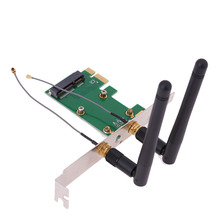 Mini PCI-e to PCI-e Converter Wireless Network Card Wireless Adapter with 2 External Antenna WiFi for PC(China)