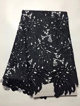 Black African Cord Lace Hojilou Panic Buying African Lace Fabric Guipure Promotion African Cord Lace Fabrics High Quality 2017