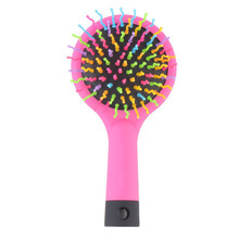 New Fashion Massage Brush Rainbow Volume S Brush Hair Curl Magic Accessory Perm Wave Straight Beauty Comb with Mirror(China)