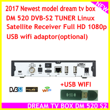 2017 latest set top box model dream tv box DM 520 dvb S2 Tuner Linux Satellite Receiver Full HD 1080p(China)