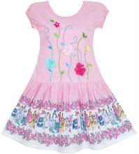 Girls Dress Embroidered Leaves Flower O-Neck Cotton Pink 2017 Summer Princess Wedding Party Dresses Children Clothes Size 7-14(China)