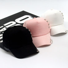 3e265aac1e4 2018 New arrival high quality snapback cap ring iron hoop bead on visor hat  for women men baseball sun cap hip hop hat
