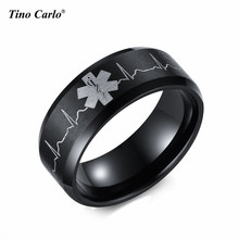 Hot Selling Star of Life Lover Rings Ecg Graph Women Ring 8MM Steel Qulaity Plated Life Star Men Ring SIZE 5~14 SF-270(China)